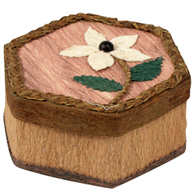 "Hexagonal Corocho Box  Crafted by Artisans in Bolivia  Measures 2-1/2"" high x 4-3/4"" wide x 5-1/2"""
