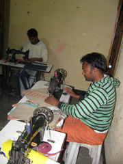 d125f5925afa Rescued from the streets this Lakshya artisan sewing a handbag. This  vocation provides him with