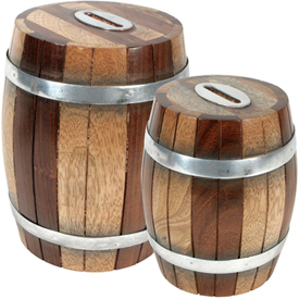Wooden Barrel Banks  Crafted by Artisans in India  Large Measures 6 high x 4-1/4 diameter,  Small Measures 5 high x 3-3/4 diameter