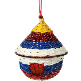 Recycled Plastic Birdhouse  Crafted by Artisans in India  Measures 9 high x 7 diameter
