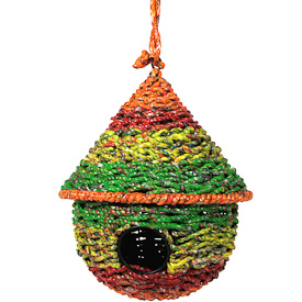 Recycled Candy Wrapper Birdhouse  Crafted by Artisans in India  Measures 9 high x 8 diameter