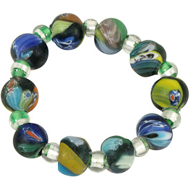 "Rainbow Recycled Glass Bracelet  Crafted by Artisans in India  Measures 1/2"" wide x variable diameter"