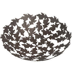 "Metal Abstract Oak Leaf Bowl  Crafted by Artisans in India  Measures 2-1/2"" high with 11"" diameter"