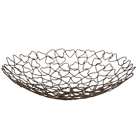 "Metal Heart Bowl  Crafted by Artisans in India  Measures 2-1/2"" high with 11"" diameter"