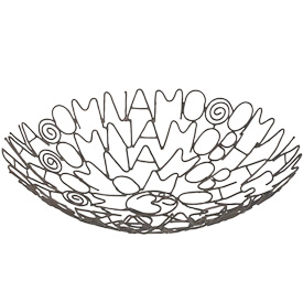 """Metal Om Namo Mantra Bowl  Crafted by Artisans in India  Measures 2-1/2"""" high with 11"""" diameter"""