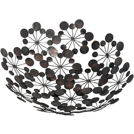 """Metal Abstract Star Burst Bowl  Crafted by Artisans in India  Measures 2-1/2"""" high with 12"""" diameter"""
