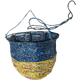 "Recycled Candy Wrapper Hanging Basket  Crafted by Artisans in India  Measures 8"" deep x 9-3/4"" diameter, with 20"" drop on hook"