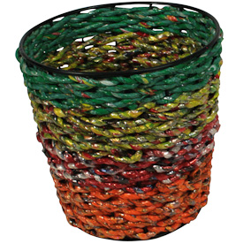 "Recycled Candy Wrapper Planter  Crafted by Artisans in India  Measures 6"" deep x 6"" diameter"