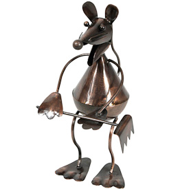 "Garden Mouse with Rake, made of recycled metal  Crafted by Artisans in India  Measures 8"" high x 4"" wide x 5-1/4"" deep"