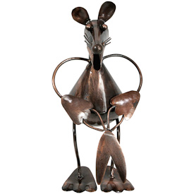 "Garden Mouse with Scissors, made of recycled metal  Crafted by Artisans in India  Measures 8"" high x 4"" wide x 6-1/4"" deep"