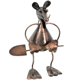 "Garden Mouse with Shovel, made of recycled metal  Crafted by Artisans in India  Measures 8"" high x 4"" wide x 6-1/4"" deep"
