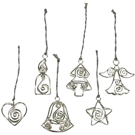 Set of 6 Silver Wire Ornaments  Crafted by Artisans in India  Set includes, an Angel, a Bell, a Candle, a Heart, a Star and a Tree