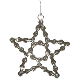 """Star Ornament made of Recycled Bike Chain  Crafted by Artisans in India  Measures 4-1/2""""high x 4-1/4"""" wide x 1/4"""" deep"""