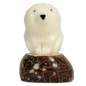 Tagua Lion Figurine Carved by Artisans of Ecuador   Measures: 2-1/2 high x 1-1/2 wide x 1-1/2 deep