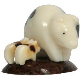 Tagua Mother Pig with Piglets Figurine Carved by Artisans of Ecuador   Measures: 1-3/4 high x 2-1/4 wide x 2 deep