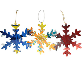 "Recycled Metal Snowflake Ornaments, set of 3  Crafted by Artisans in Guatemala  Each measures 3"" in diameter"