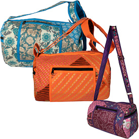 """Patchwork Round Shoulder Bags  Crafted by Artisans in India  Measure 12-1/2"""" long x 8-1/2"""" diameter"""