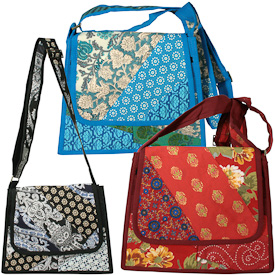 """Patchwork Shoulder Bags  Crafted by Artisans in India  Measure 11"""" high x 12"""" wide x 2-1/2"""" deep at base"""