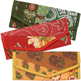 "Recycled Fabric Patchwork Clutches  Crafted by Artisans in India  Measure 3-1/2"" x 8-1/2"" when closed"
