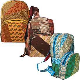 "Recycled Fabric Patchwork Backpacks  Crafted by Artisans in India  Measure 17"" high x 12-1/2"" wide x 6-1/2"" deep"