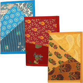 """Large Patchwork Journals with Recycled Fabric Covers  Crafted by Artisans in India  Measures 9"""" high x 6"""" wide x 45 sheets"""