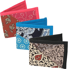 """Recycled Cloth Patchwork Wallets  Crafted by Artisans in India  Measure 3-1/2"""" x 4-1/2"""" when closed"""