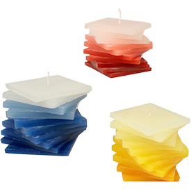 """Unscented Square Layered Candles  Crafted by Artisans in India  Measure 2-3/4"""" high x 2-5/8"""" wide x 2-5/8"""" deep"""