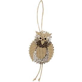 "Owl Ornament made of Recycled Corrugated Cardboard  Crafted by Artisans in the Philippines  Measures 5"" high x 2-1/2"" wide x 1/2"" deep, 3"" drop"