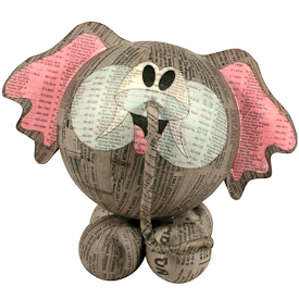 """Large Paper Mache Elephant  Crafted by Artisans in the Philippines  Measures 7-1/2"""" high x 7-1/2"""" wide x 6"""" deep"""