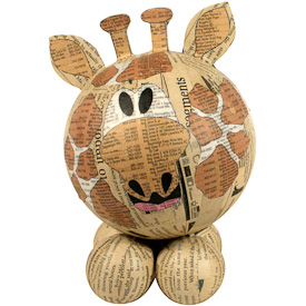 """Large Paper Mache Giraffe  Crafted by Artisans in the Philippines  Measures 8"""" high x 5-1/4"""" wide x 5"""" deep"""