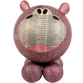 "Large Paper Mache Hippopotamus  Crafted by Artisans in the Philippines  Measures 7"" high x 5"" wide x 5"" deep"