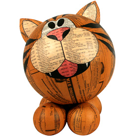 """Large Paper Mache Tiger  Crafted by Artisans in the Philippines  Measures 6-1/2"""" high x 5"""" wide x 5-1/2"""" deep"""