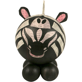 """Large Paper Mache Zebra  Crafted by Artisans in the Philippines  Measures 8-1/4"""" high x 5"""" wide x 5-1/4"""" deep"""