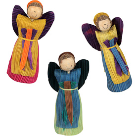"Large Colored Corn Husk Angels  Crafted by Artisans in Colombia  Measure 4-3/4"" high x 2"" wide x 1-3/4"" deep"
