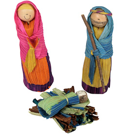 """Colored Corn Husk 3-piece Nativities  Crafted by Artisans in Colombia  Joseph and Mary measure 5"""" high"""