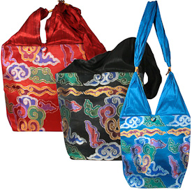 "Large Silk Brocade Shoulder Bags  Crafted by Artisans in India  Measure 10"" high x 12"" wide x 4-1/4"" deep"