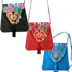 """Small Silk Brocade Shoulder Bags  Crafted by Artisans in India  Measure 7-1/2"""" high x 8-1/2"""" wide x 2"""" deep"""