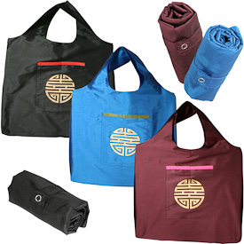 "Taffeta Roll Up Bags  Crafted by Artisans in India  Measure 20"" high x 16"" wide when rolled out"
