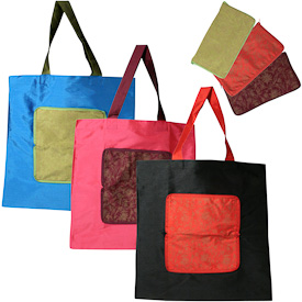 """Taffeta Fold Up Bags with Zipper Pouch  Crafted by Artisans in India  Measures 15"""" high x 15"""" wide when unfolded"""