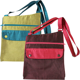 "Taffeta Shoulder Bags  Crafted by Artisans in India  Measure 11"" high x 9"" wide"