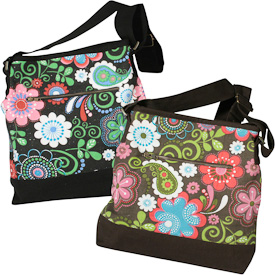 """Canvas Shoulder Bags with Flower Print  Crafted by Artisans in India  Measures 13"""" high x 13"""" wide x 4-1/4"""" deep"""